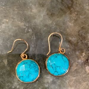 FABULOUS turquoise drop earrings with gold trim!!